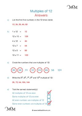 Multiples of 12 worksheet answers pdf