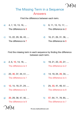 missing number in a sequence worksheet answers pdf