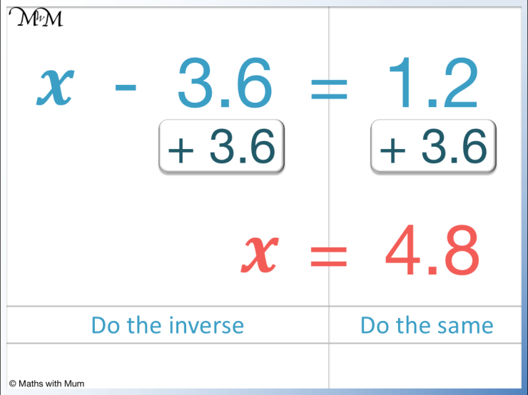 solving  one step equation with the subtraction of a decimal
