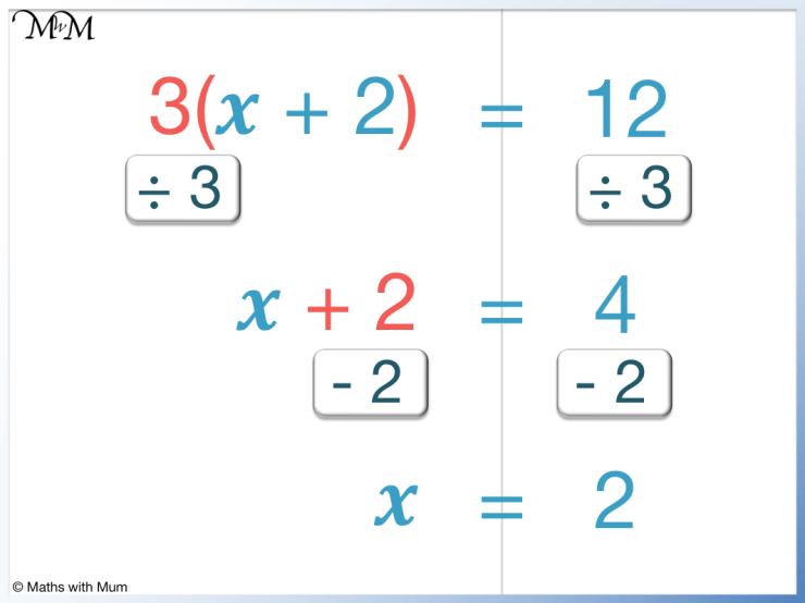 3(x+2) = 12 is an example of a 2 step equation with brackets