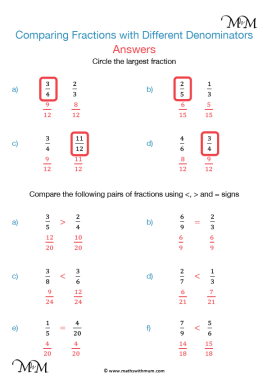 comparing fractions with different denominators worksheet answers pdf