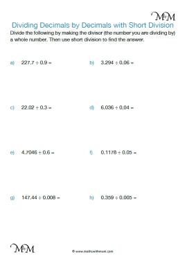 dividing decimals by decimals worksheet pdf