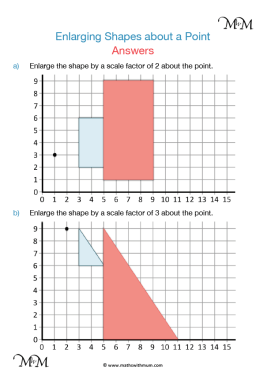 enlarging shapes about a point worksheet answers pdf