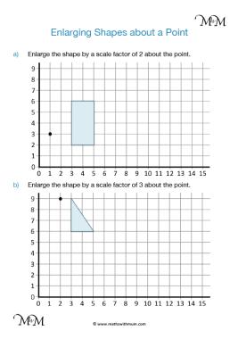 enlarging shapes about a point worksheet pdf