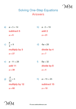 solving one step equations worksheet answers pdf