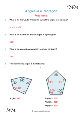 angles in a pentagon worksheet answers pdf
