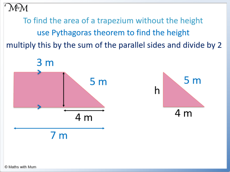 area of a trapezium without the height