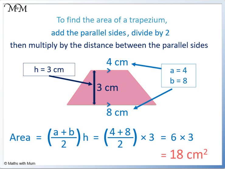 example of finding the area of a trapezium
