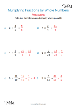 Multiplying a Fraction by a Whole Number worksheet pdf answers pdf