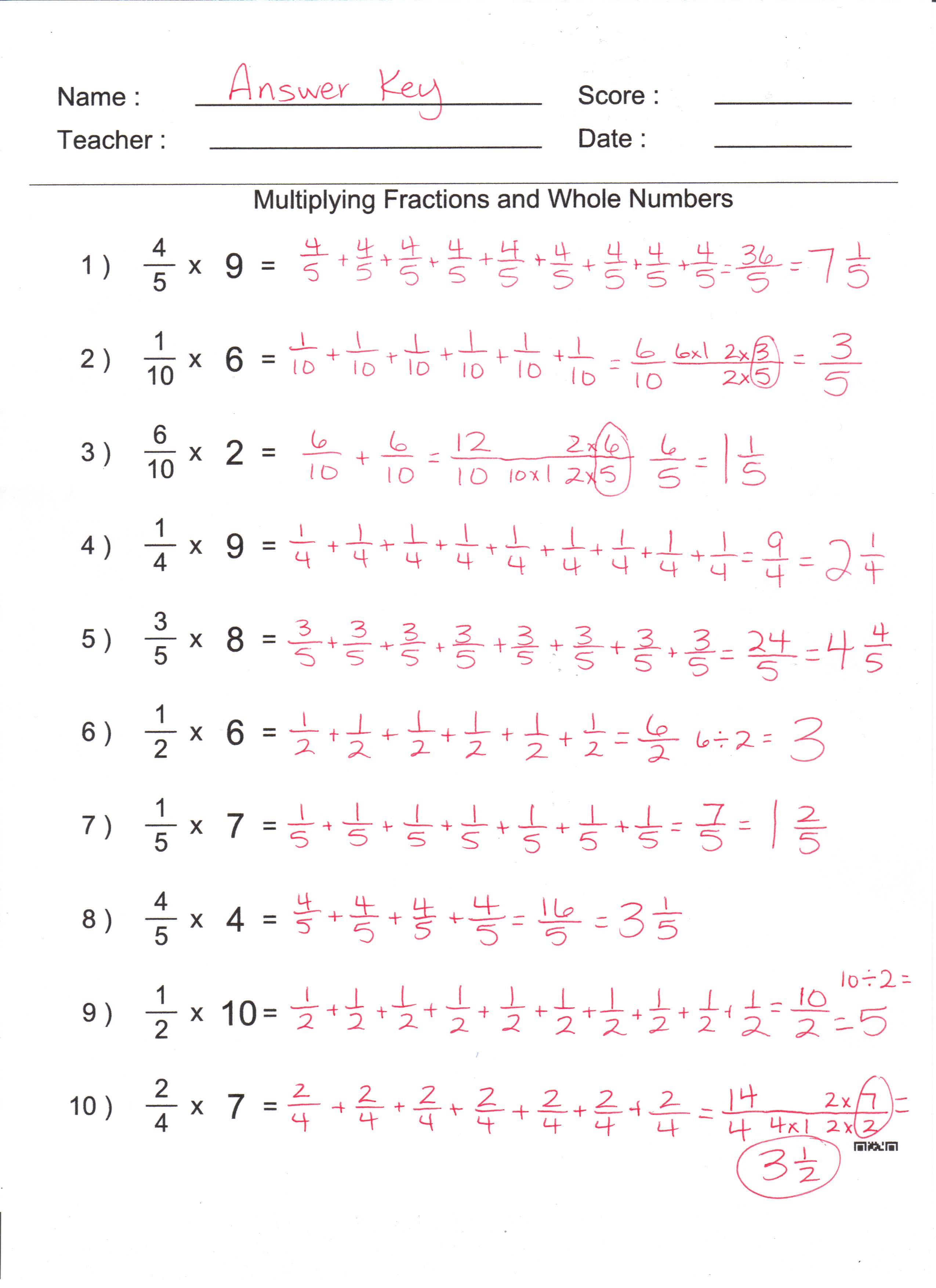 Multiplying Fractions By A Whole Numbers