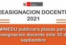 MINEDU publicará plazas para reasignación docente este 30 de septiembre