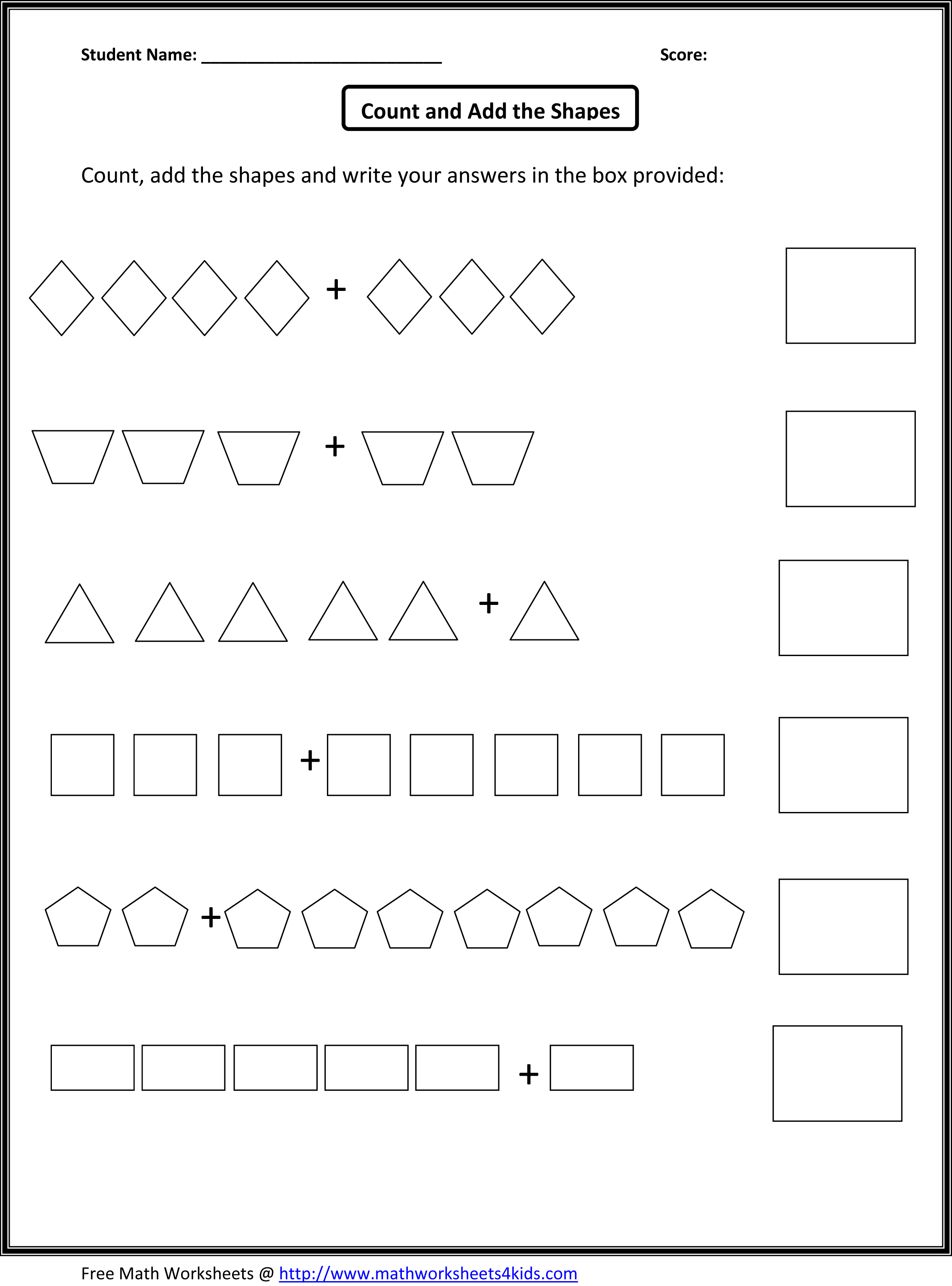 Adding Worksheets For Kindergarten