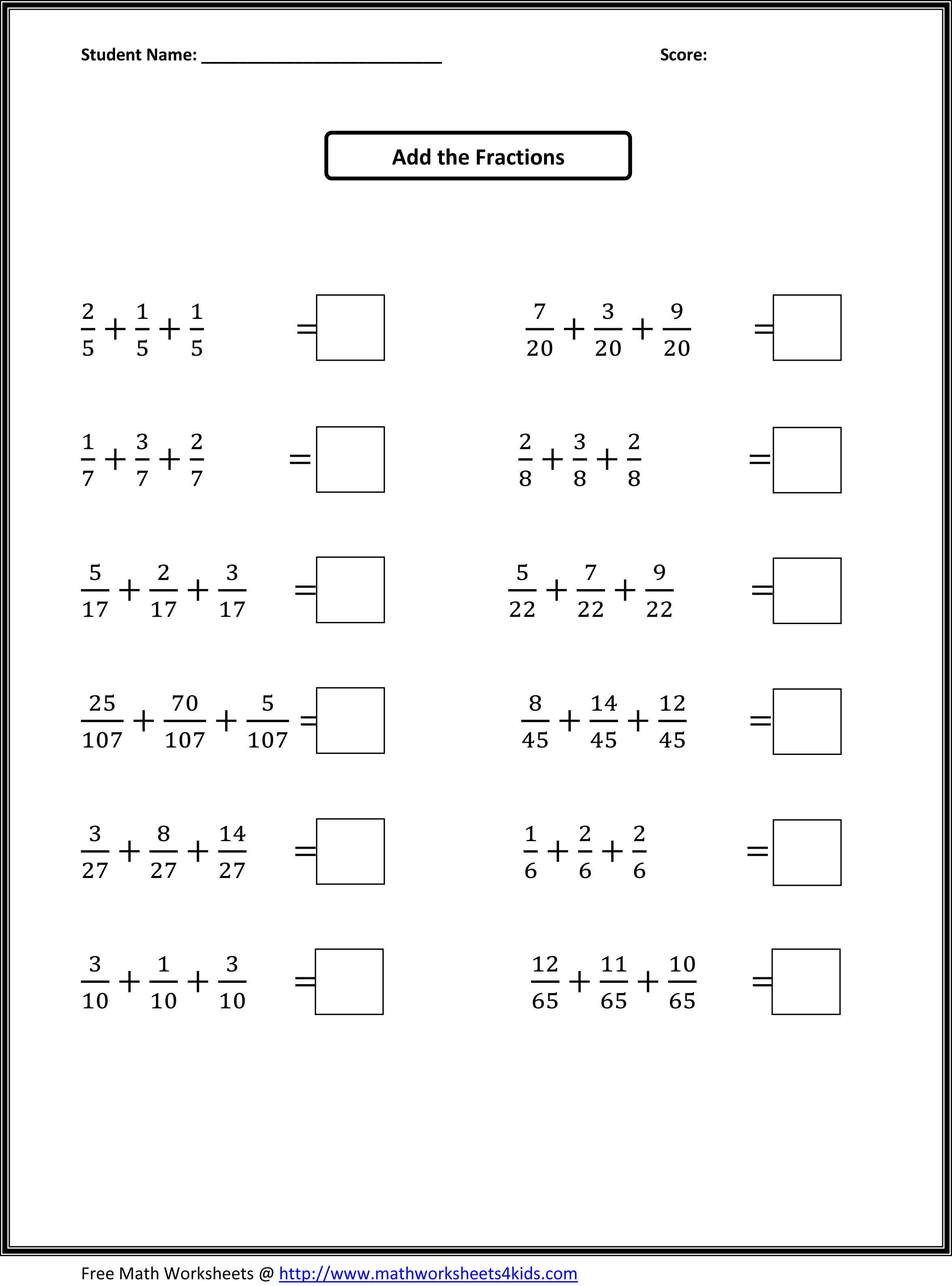 Fourth Grade Math Worksheets