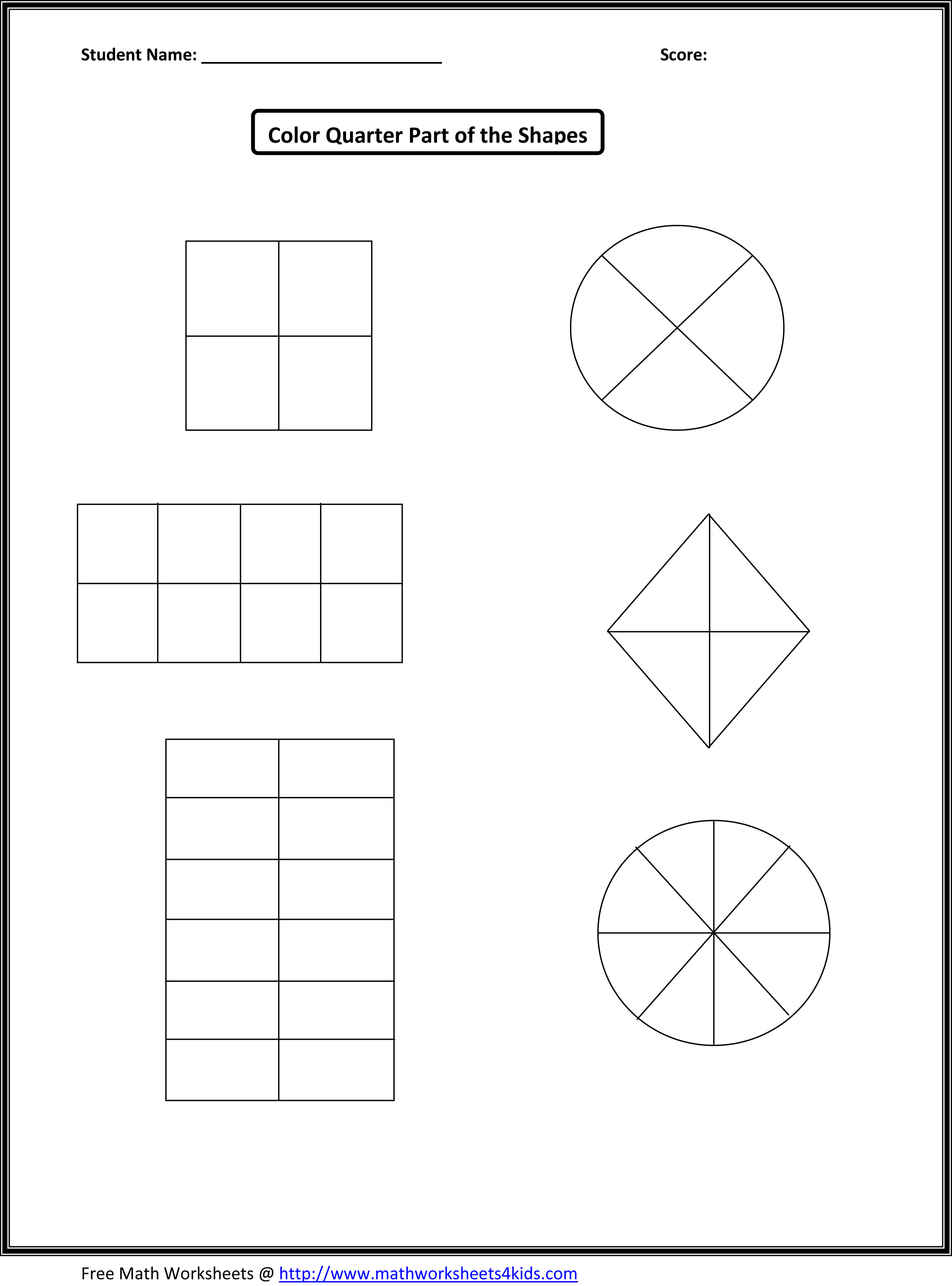 First Grade Fractions Worksheet