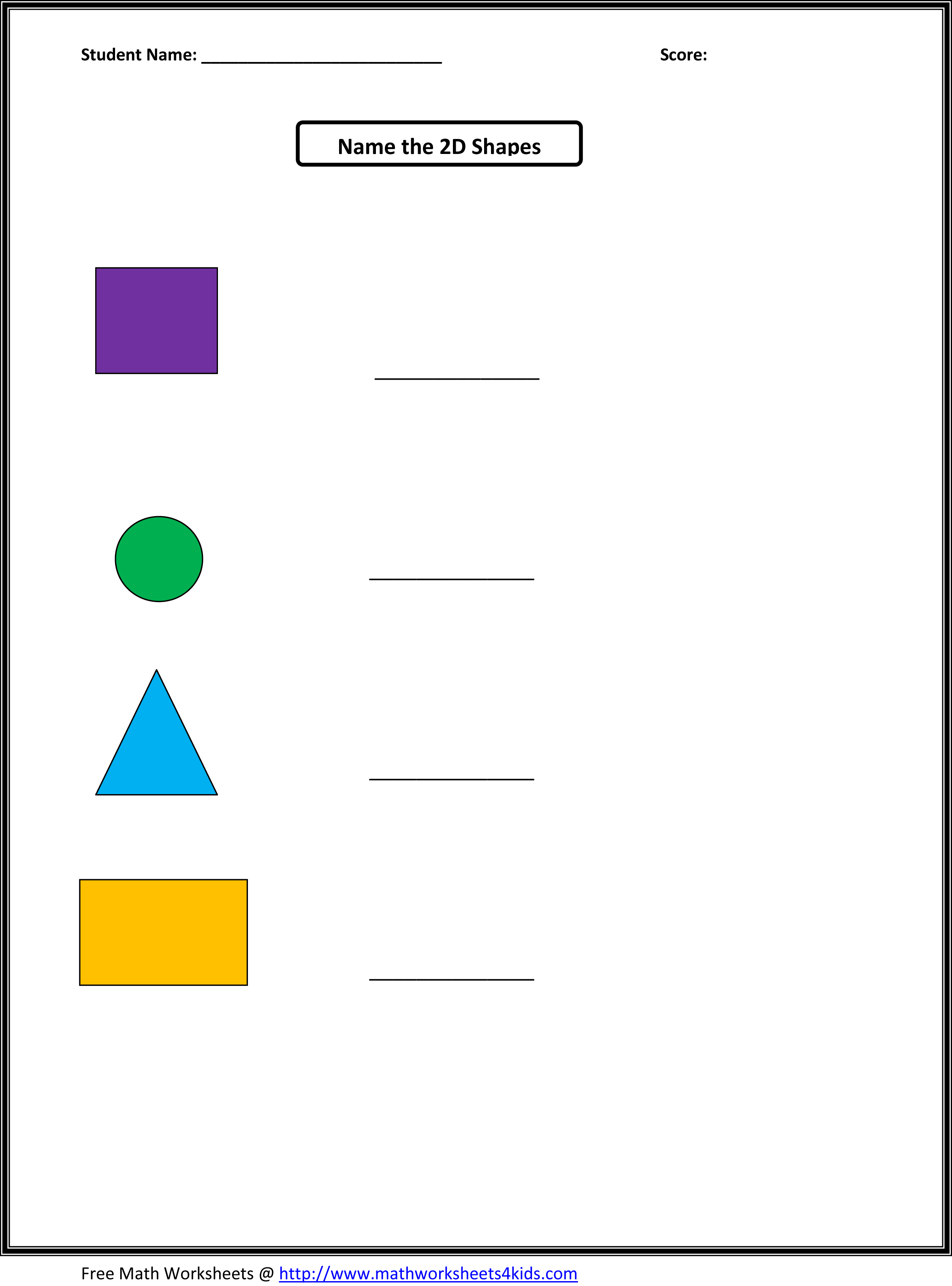 Shapes Worksheets Kindergarten