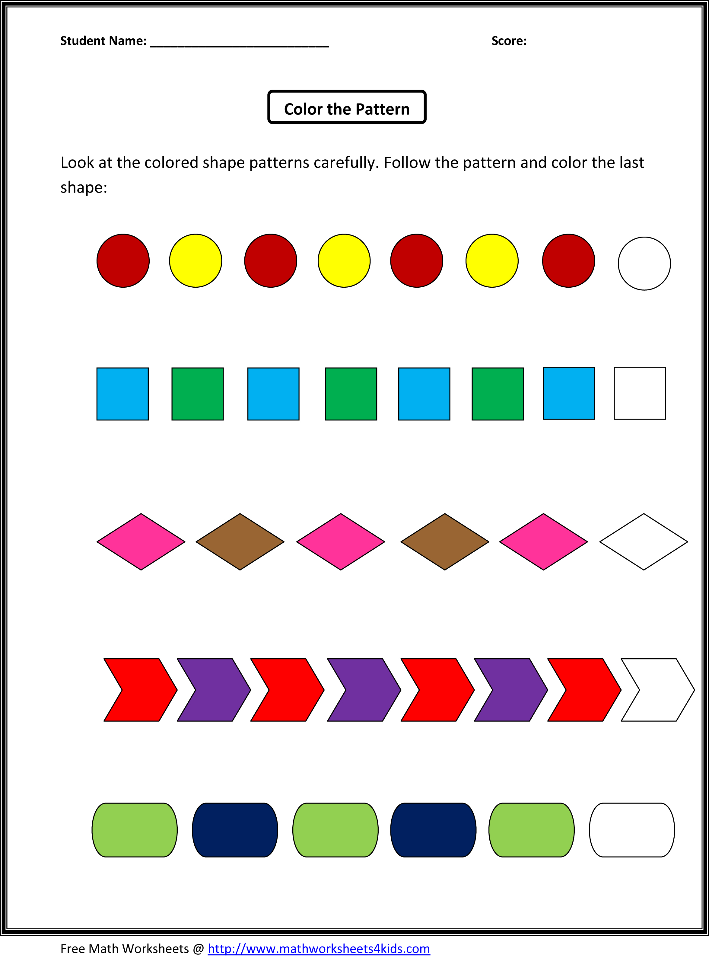 Pin Patterns Worksheets