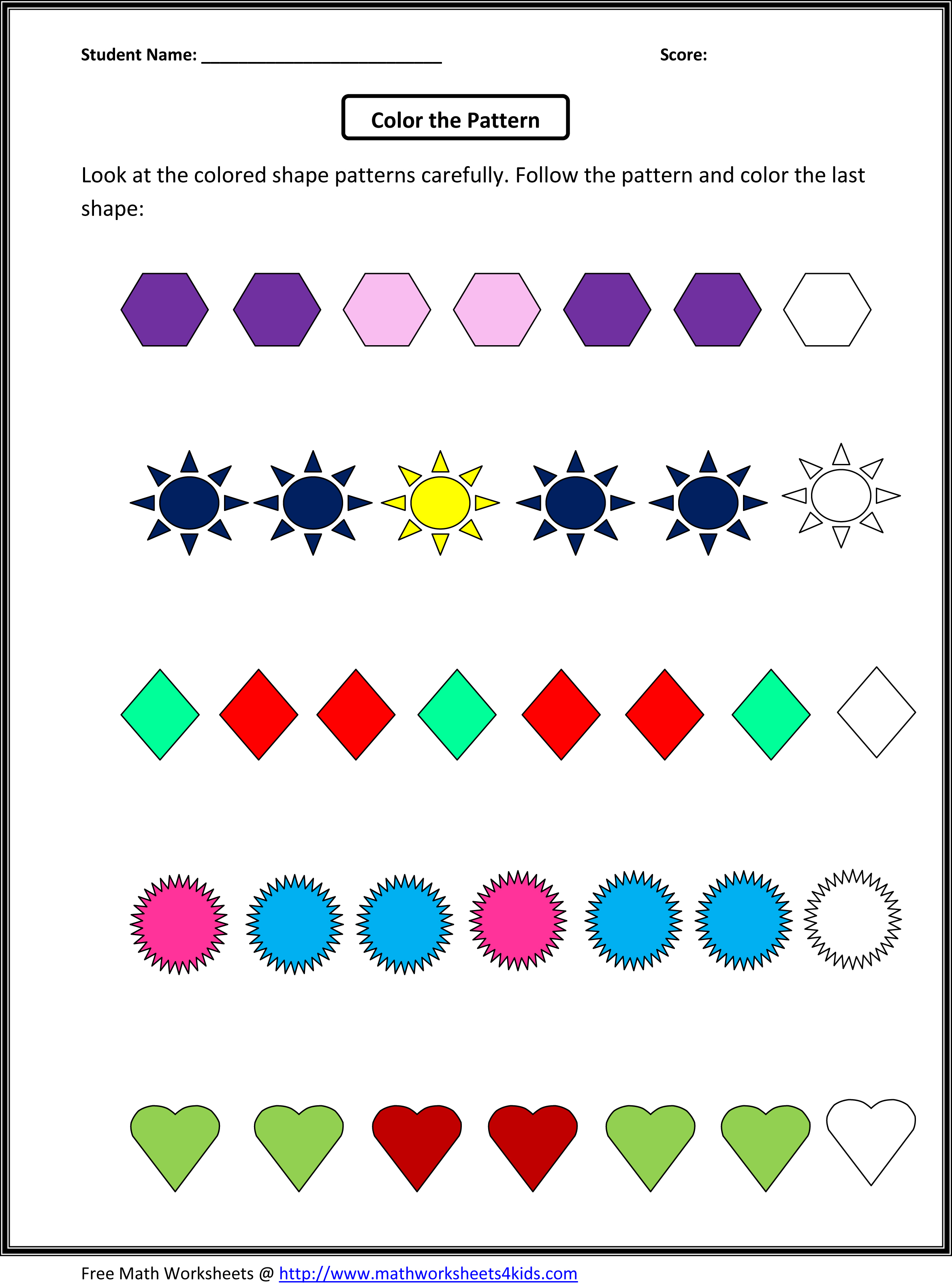 Math Patterns Grade 4