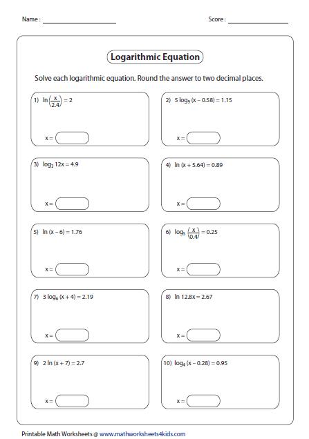 Logarithms Worksheets