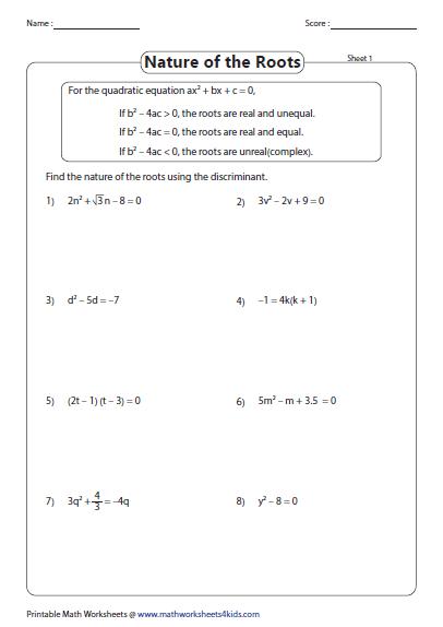 Quadratic Formula Worksheets