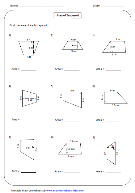 Area Of Trapeziums Math Worksheets Proof Of The Area Of A