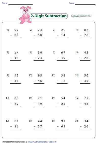 2 Digit Subtraction Worksheets