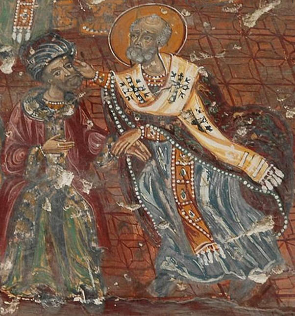 ο άγιος Νικόλαος χαστουκίζει τον Άρειο