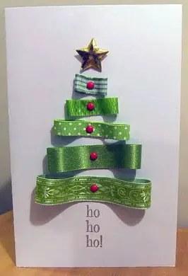 Χριστουγεννιάτικη ευχετήρια κάρτα με κορδέλες