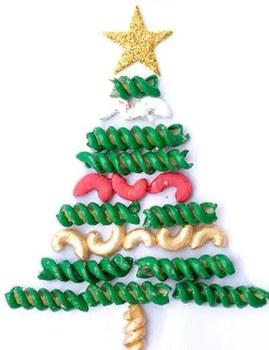 Χριστουγεννιάτικο δεντράκι από ζυμαρικά