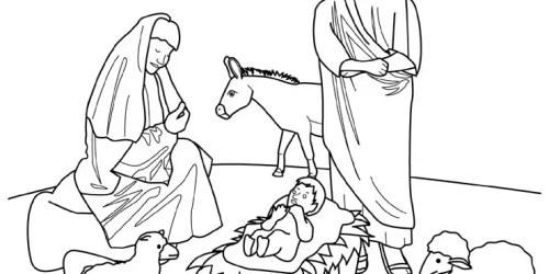 Το Θείο Βρέφος, η Παναγία, ο Ιωσήφ και τα ζώα της φάτνης