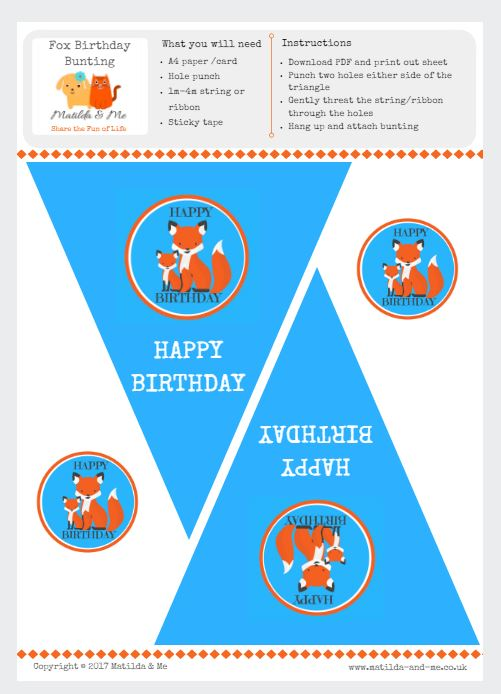 Fox Themed Birthday Party Bunting