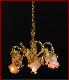 Cl6040 Six Arm Chandelier Frosted Tulip Shade