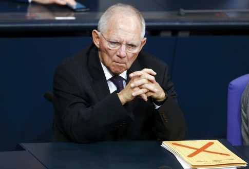 German Finance Minister Schaeuble attends a session of the lower house of parliament Bundestag in Berlin