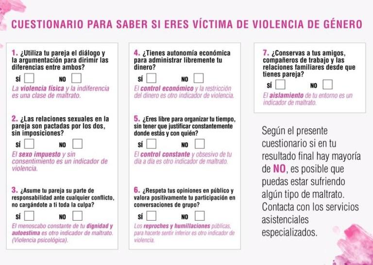 Cuestionario para saber si eres víctima de violencia de género