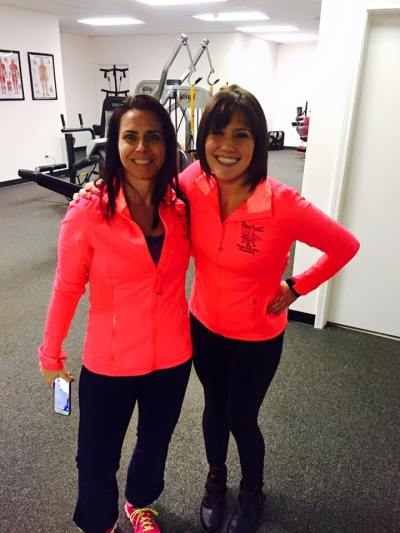 Women and Weights - Julie and one of her dedicated clients, Tricia, matching before an exercise session!