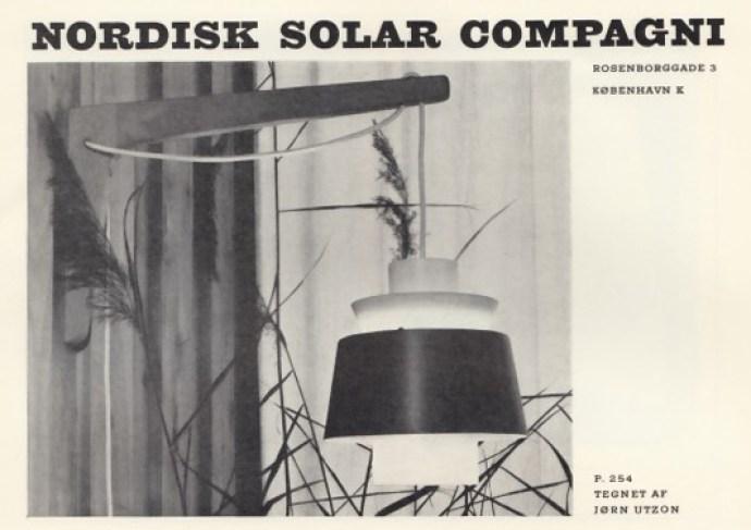 Jørn Utzons P. 254 for Nordisk Solar Compagni i Dansk Kunsthaandværk.