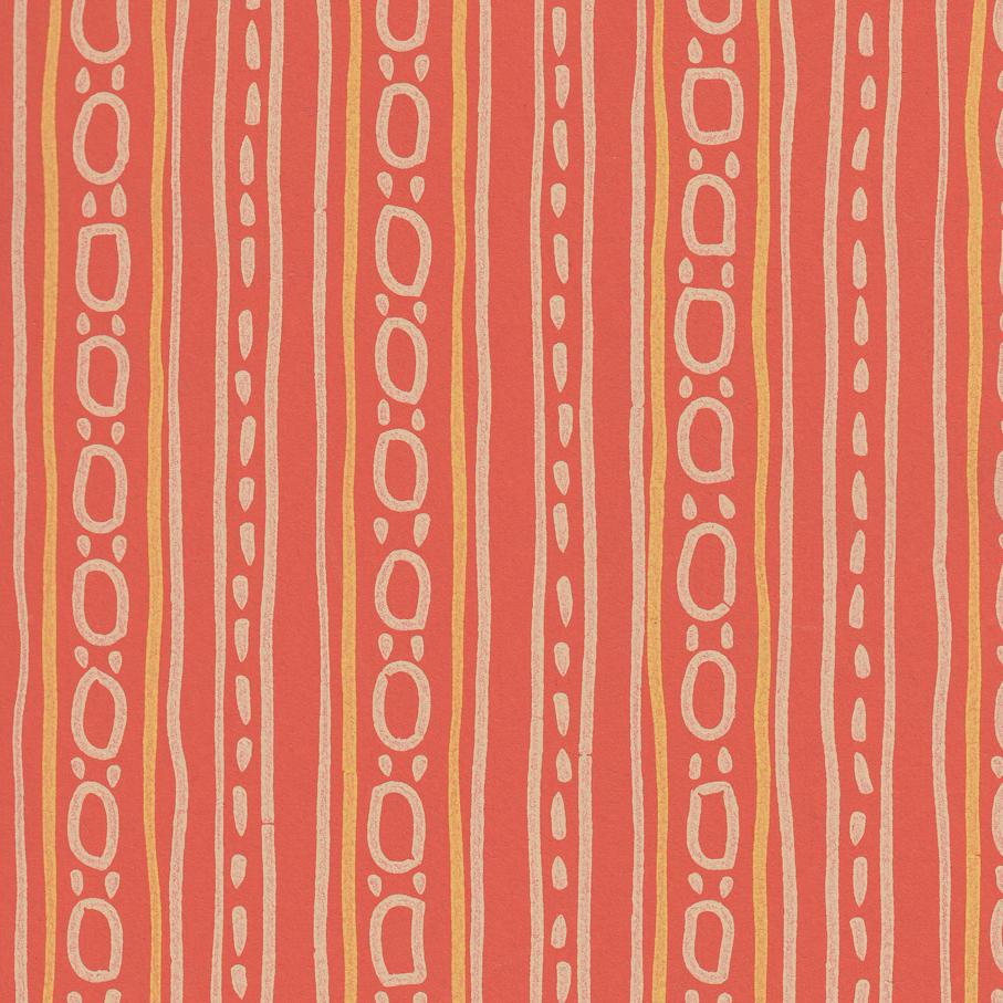 Birger Dahl. Tapet. Mønster: Fast vegg. Produsert av Vallø Tapetfabrikk. Tegnet i anledning av konkurranse om norske tapeter for gjenreisingen. Konkurransen ble utlyst høsten 1946 og offentliggjort rundt januar/februar 1947. Birger Dahl vant 1. premie i Gruppe II for Fast vegg. I produksjon fra 1947. (Foto: Mats Linder)