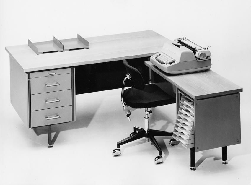 Arne Halvorsen. Kontormøbelsystem. Produsert av Nobø Fabrikker. Annen halvdel av 1960-tallet. (Norsk Designråd)