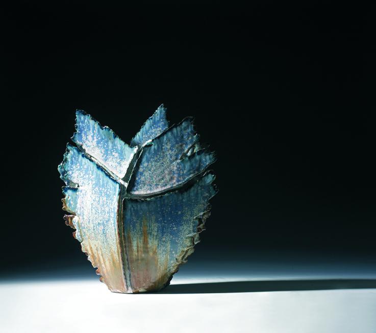 Erik Pløen. Vase. Steingods. Eget verksted. 1980-tallet. H. 39. (Foto: Blomqvist Kunsthandel)