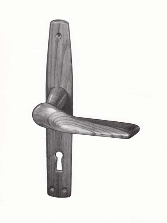 Bjørn A. Larsen. Prøvemodell til dørvrider. Utført for Trio Fabrikker. Ca. 1951/52.