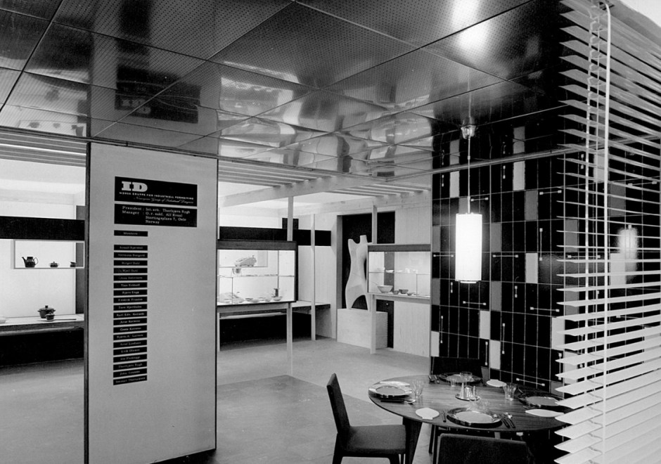 ID-gruppens paviljong ved Triennalen i Milano i 1957. Utstillingsarkitekt Bjørn Engø.