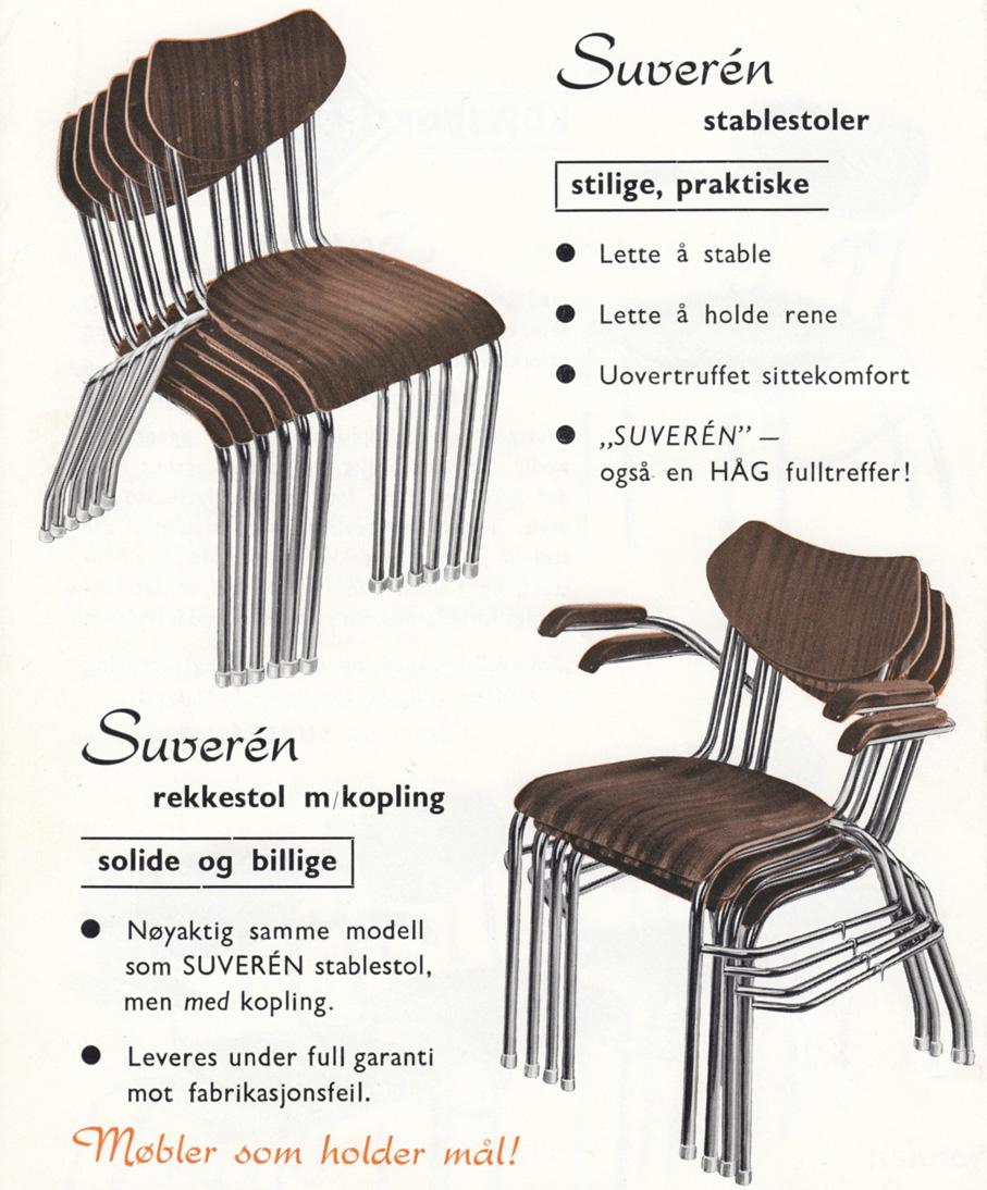 Reklame for Hågs stabelstol Suveren fra tiden rundt 1960.