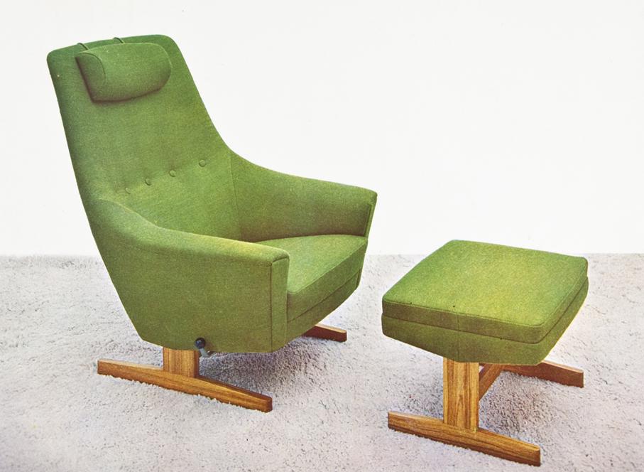 Torbjørn Bekken ved Rastad & Relling Tegnekontor. Modell: King Relax A. Produsert av Arnestad Bruk. Ca. 1962.