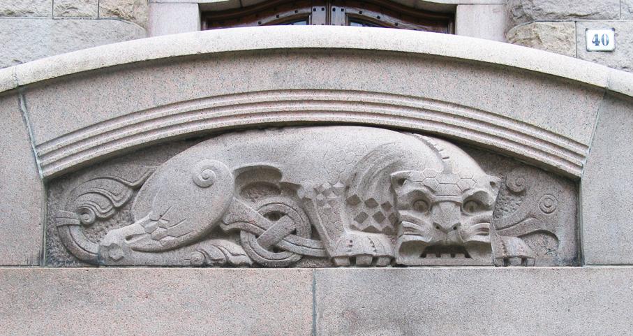 Henrik Bull. Utsmykning. Den gamle Regjeringsbygningen, nåværende Finansdepartementet. Oslo. Ca. 1906. (Foto: Mats Linder)