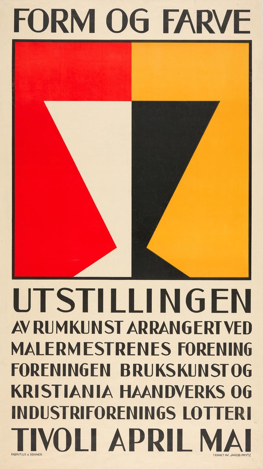 Jacob Prytz. Plakat til Form og Farve Utstillingen. Trykket ved Fabritius & Sønner. (Foto: Nasjonalmuseet)