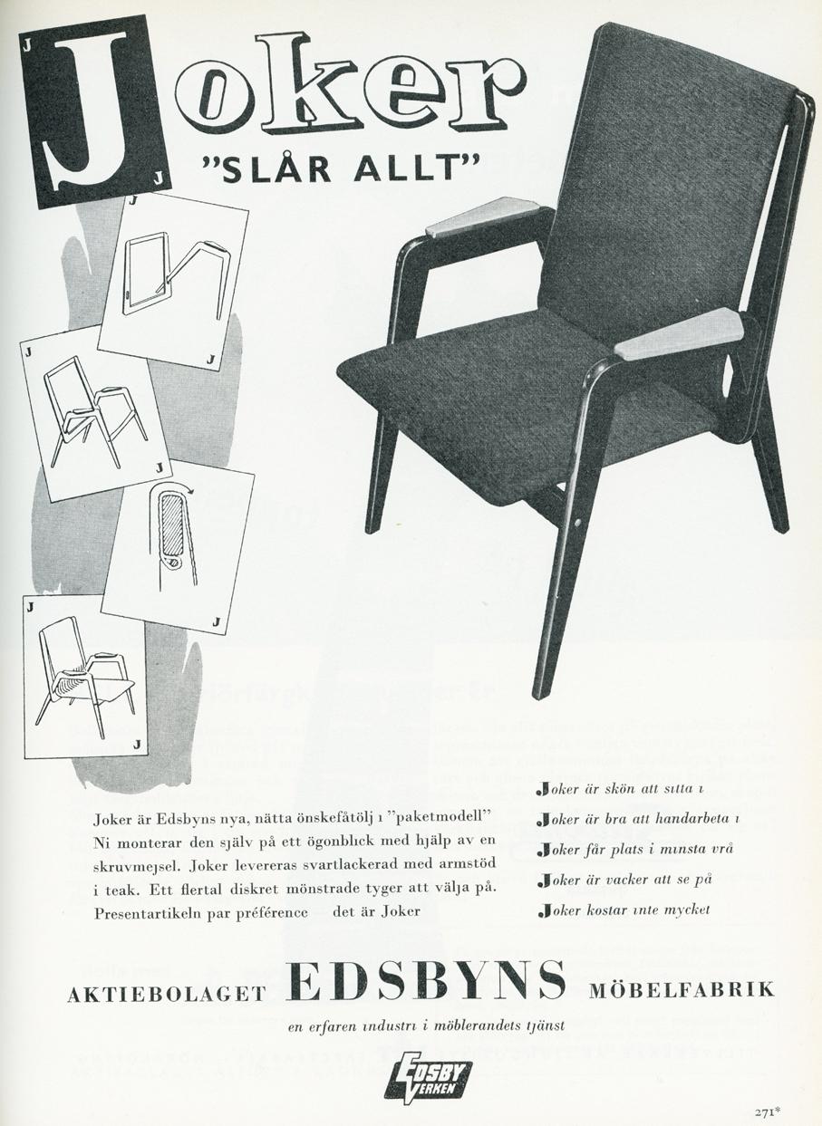 Reklame for Joker i det svenske designtidsskriftet Form.