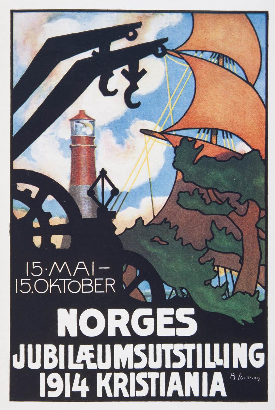 Brynjulf Larsson. Plakat. Norges Jubilæumsutstilling 1914. (Foto: Mats Linder)