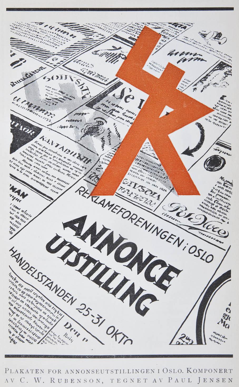 Annonse for Reklameforeningens annonseutstilling i 1926. Her med den nye logotypen, tegnet av C. W. Rubenson.