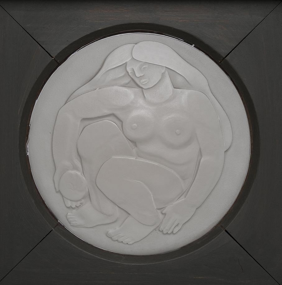 Lars Fletre. Plakett. Sandblåst glass. Utført ved Hadeland Glassverk. Første halvdel av 1940-tallet. (Foto: Holger Keifel)