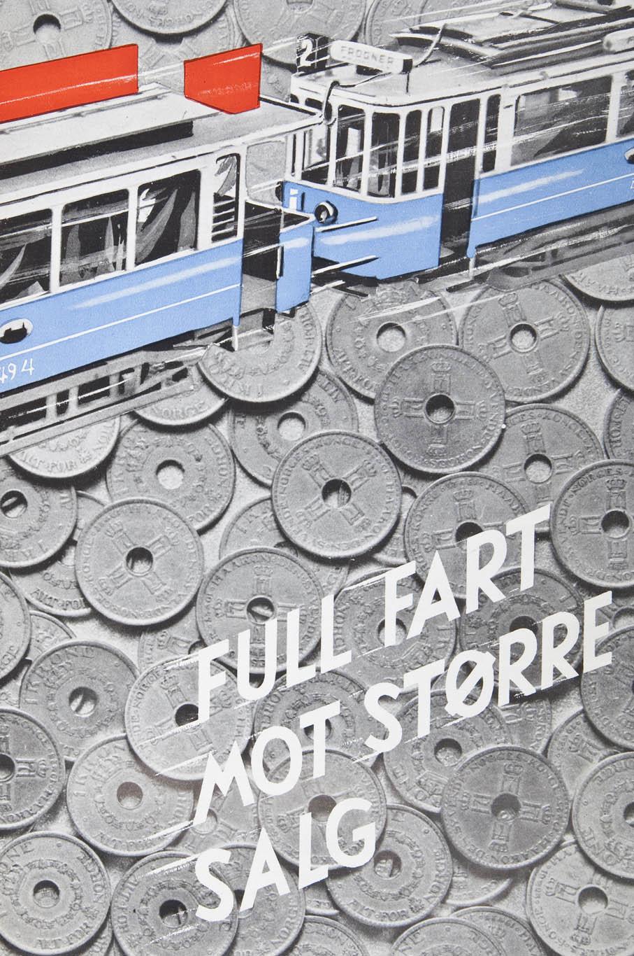Spennende utformet reklame for Sporveisannonsene AS der man kombinert fotografi og illustrasjon på en god måte.
