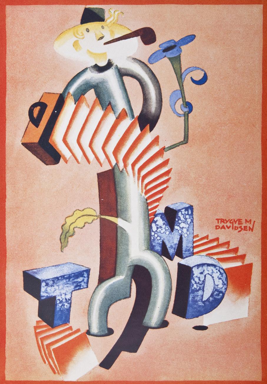 Illustrasjon av Trygve M. Davidsen til reklame for eget firma.